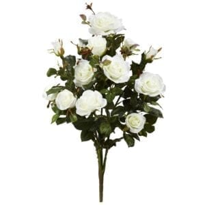 """Nearly Natural Garden Rose Artificial Plant (Set of 2), White Silk Tree 28"""""""