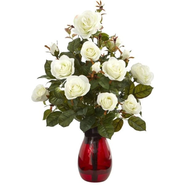 "Nearly Natural Garden Rose Silk Artificial Flower Arrangement in Red Vase, White 21"""