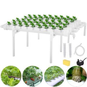 54 Holes 6 Pipes Horizontal Piping Site Grow Kit Flow DWC Deep Water Culture Planting Hydroponic System